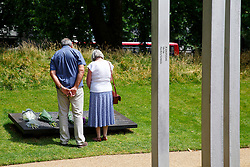 © Licensed to London News Pictures. 06/07/2015. London, UK. People visiting 7 July Memorial in Hyde Park to commemorate the 10th anniversary of 7/7 London bombings on Monday, July 6, 2015. Photo credit: Tolga Akmen/LNP