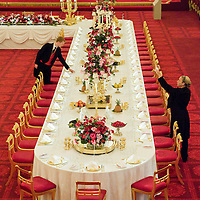 London, July 25 Buckingham Palace .  the Ballrom set up for a State Banquet as part of the palaces summer opening which starts on Monday