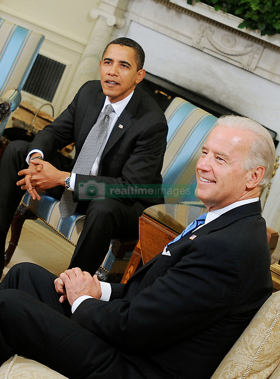 """File photo dated January 29, 2009 of US President Barack Obama sits with US Vice President Joe Biden (R) during meetings in the Oval Office of the White House in Washington, DC,USA. Former President Barack Obama endorsed Joe Biden, his two-term vice president, on Tuesday morning in the race for the White House. """"Choosing Joe to be my vice president was one of the best decisions I ever made, and he became a close friend. And I believe Joe has all the qualities we need in a president right now,"""" Obama said in a video posted to Twitter. Photo by Olivier Douliery/ABACAPRESS.COM"""
