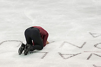 KELOWNA, BC - OCTOBER 26:  Canadian figure skater Nam Nguyen kneels to the ice after competing in the mens long program at Skate Canada International held at Prospera Place on October 24, 2019 in Kelowna, Canada. (Photo by Marissa Baecker/Shoot the Breeze)