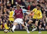 Photo: Olly Greenwood.<br />West Ham United v Arsenal. The Barclays Premiership. 05/11/2006. West Ham's Teddy Sheringham and Arsenal's Cesc Fabregas