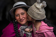 Indian woman & child<br /> Marta Tacuri & Melany Jaya<br /> Pulingue San Pablo community<br /> Chimborazo Province<br /> Andes<br /> ECUADOR, South America