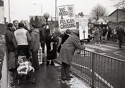 Campaign to get a pelican crossing opposite primary school, Sherwood Rise, Nottingham UK February 1987
