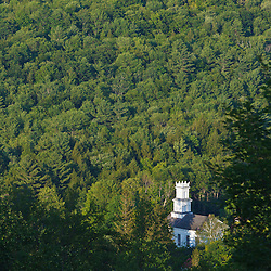 The Union Church (1844) as seen from Tyringham Cobble in Tyringham, Massachusetts. Berkshire Mountains.