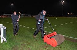 Last minute pitch preparations to mop up the rain at Stoke Gifford Stadium - Mandatory by-line: Paul Knight/JMP - 05/12/2018 - FOOTBALL - Stoke Gifford Stadium - Bristol, England - Bristol City Women v Aston Villa Women - FA WSL Continental Tyres Cup