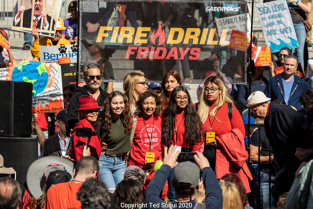 Fire Drill Friday Protest Rally at Los Angeles City Hall lead by Jane Fonda and Greenpeace. Actors and activist marched from L.A. City Hall to Pershing Square in downtown L.A. to demand that leaders address climate change.<br /> 2/7/2020 Los Angeles, CA USA <br /> (Photo by Ted Soqui/SIPA USA)