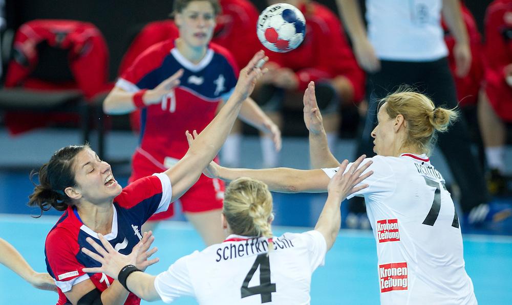 London Handball Cup - GB vs Austria - Lyn Byl (GB), Beate Scheffknecht (AUT), Gorica Acimovic (AUT)