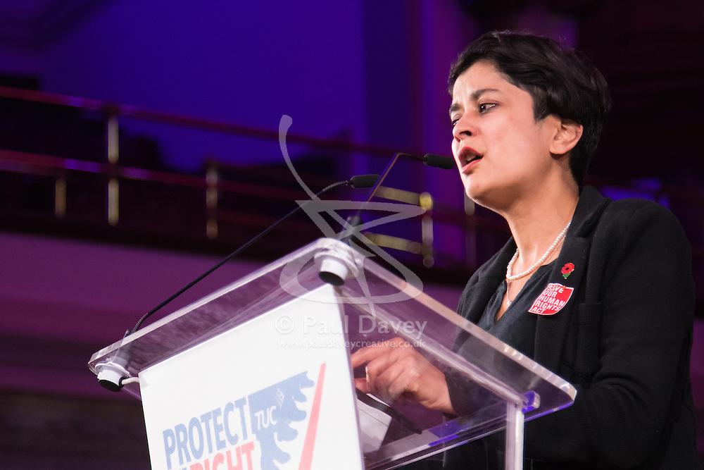 Westminster Central Hall, London, November 2nd 2015. Shami chakrabarti of human rights watchdog Liberty addresses the packed Westminster Central Hall.