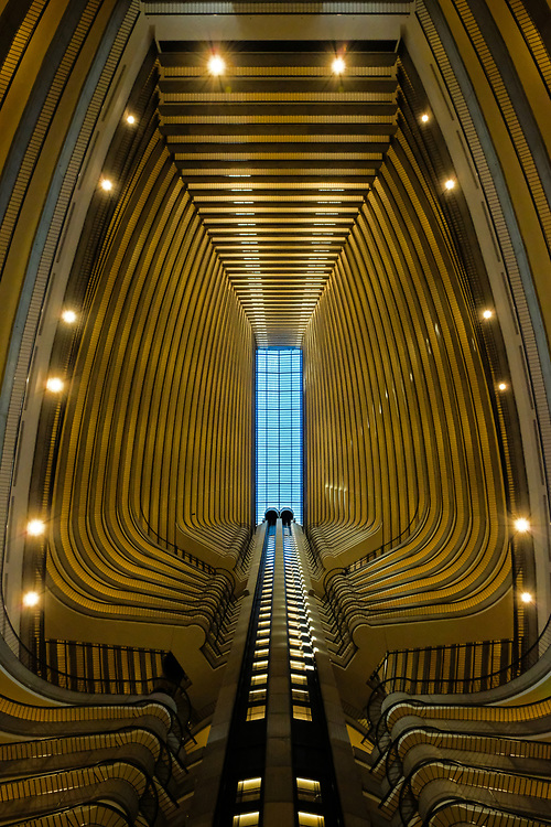 Looking up the atrium of the Marriott Marquis hotel in Atlanta, Georgia resembles a time machine to me.