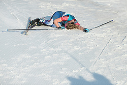 February 25, 2018 - Pyeongchang, South Korea - Jessica Diggins of USA collapse at the finish line  during the Ladies Cross Country Skiing Mass Start 30k at the PyeongChang 2018 Winter Olympic Games at Alpensia Cross-Country Skiing Centre on Sunday February 25, 2018. (Credit Image: © Paul Kitagaki Jr. via ZUMA Wire)