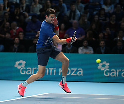 November 13, 2016 - London, England, United Kingdom - Milos Raonic (CAN)(4)in action against  Gael Monfils (FRA)(6)making his Debut  in their Ivan Lendl  Group Score 6-7 6-0 6-2 match during Day One of the Barclays ATP World Tour Finals 2015 played at The O2 Arena, London on November 13th  2016. (Credit Image: © Kieran Galvin/NurPhoto via ZUMA Press)