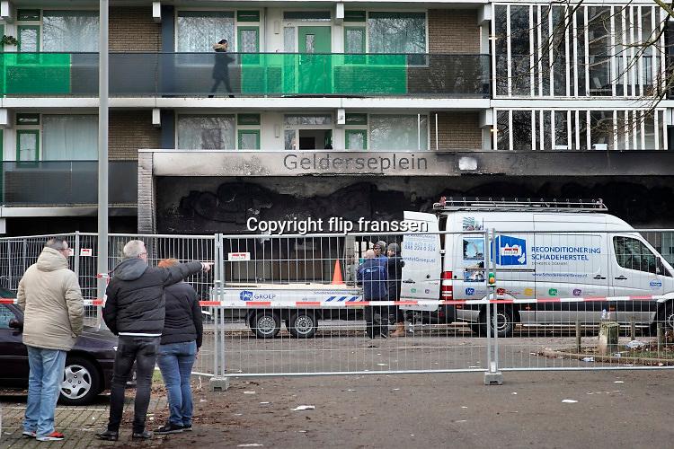 Nederland, Arnhem, 1-1-2020Op nieuwjaarsnacht zijn twee mensen omgekomen in de lift van dit flatgebouw omdat in de toegangshal vuur was ontstaan en de stroom uitviel. Twee minderjarigen zijn aangehouden .Foto: Flip Franssen