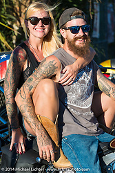 Morgan Harrell at the Old School bike show at Willie's Tropical Tattoo during Biketoberfest, Ormond Beach, FL, October 16, 2014, photographed by Michael Lichter. ©2014 Michael Lichter