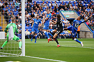 An early shot from Peterborough United defender Rhys Bennett (16) during the EFL Sky Bet League 1 match between Peterborough United and Portsmouth at London Road, Peterborough, England on 15 September 2018.