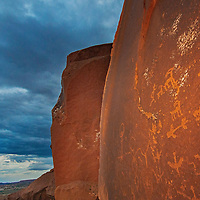 Anasazi petroglyphs adorn a boulder near Comb Ridge in Bears Ears National Monument, Utah.