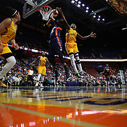 UNCASVILLE, CONNECTICUT- JUNE 5:  Jonquel Jones #35 of the Connecticut Sun drives to the basket as Devereaux Peters #14 of the Indiana Fever blocks the shot  during the Indiana Fever Vs Connecticut Sun, WNBA regular season game at Mohegan Sun Arena on June 3, 2016 in Uncasville, Connecticut. (Photo by Tim Clayton/Corbis via Getty Images)