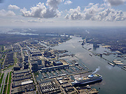 Nederland, Noord-Holland, Amsterdam; 16-04-2021; Amsterdam-Noord, Buiksloterham. Tt. Vasumweg, zicht op Damen Shiprepair met de Marella Discovery (cruiseschip voor TUI). Kraanspoor en Amsterdam jachthaven op het tweede plan.<br /> copyright © 2021 luchtfoto (toeslag op standaard tarieven);<br /> aerial photo (additional fee required);<br /> copyright © 2021foto/photo Siebe Swart