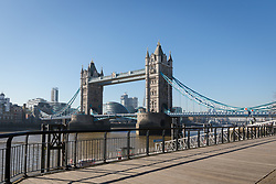 © Licensed to London News Pictures. 26/02/2019. London, UK.  Blue sky and warm sunny weather behind Tower Bridge and the River Thames in London today.  Photo credit: Vickie Flores/LNP