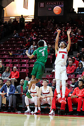 NORMAL, IL - December 16: Zach Copeland shoots the 3 with defender Tyree Appleby too far out to block during a college basketball game between the ISU Redbirds and the Cleveland State Vikings on December 16 2018 at Redbird Arena in Normal, IL. (Photo by Alan Look)