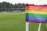 Rainbow coloured corner flags during the EFL Sky Bet League 1 match between AFC Wimbledon and Southend United at the Cherry Red Records Stadium, Kingston, England on 24 November 2018.