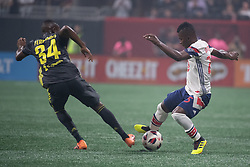 August 1, 2018 - Atlanta, Georgia, United States - MLS All-Star forward DARWIN QUINTERO, 25, (Minnesota United) dribbles the ball past Juventus midfielder LEANDRO FERNANDES, 34 during the 2018 MLS All-Star Game at Mercedes-Benz Stadium in Atlanta, Georgia.  Juventus F.C. defeats  MLS All-Stars defeat  1 to 1  (Credit Image: © Mark Smith via ZUMA Wire)