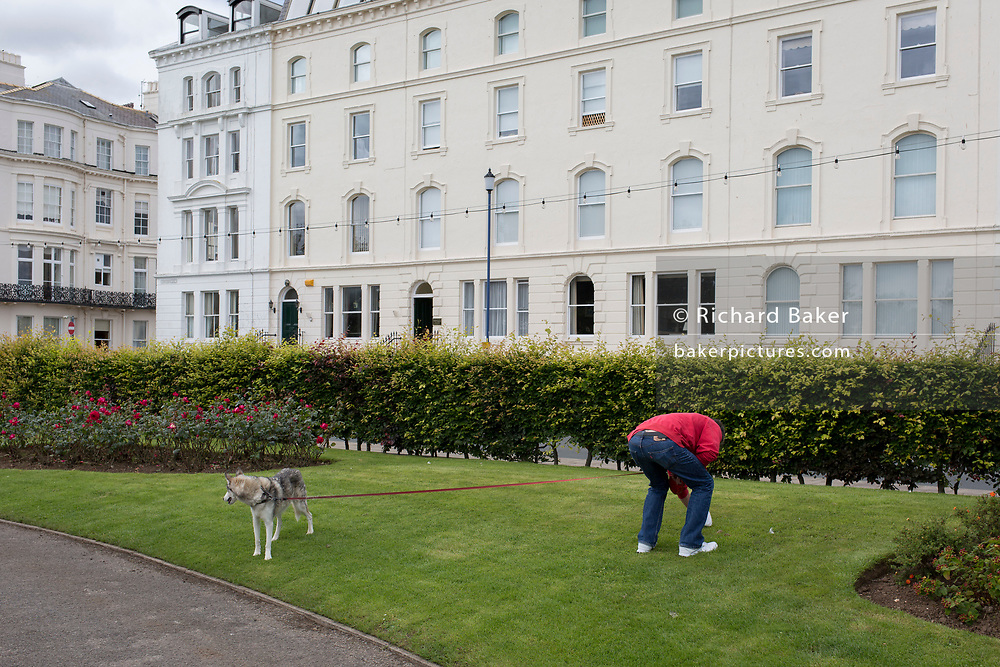 A dog owner picks up his pet's mess on the lawns opposite smart seaside housing, on 14th July 2017, at Filey, North Yorkshire, England.