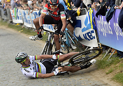 April 2, 2017 - Oudenaarde, Belgium - Slovakian rider PETER SAGAN of Bora-Hansgrohe, Belgian rider GREG VAN AVERMAET of BMC Racing Team and Belgian rider OLIVER NAESEN of AG2R La Mondiale pictured during a fall on the Oude Kwaremont during the 101st edition of the 'Ronde van Vlaanderen - Tour des Flandres - Tour of Flanders' one day cycling race, 260km from Antwerp to Oudenaarde. (Credit Image: © Peter De Voecht/Pool/Belga via ZUMA Press)