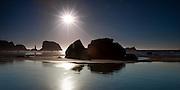 Setting sun at Bandon Beach on the Oregon Coast