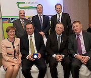 Prof Cathal O Donohue Teagasc, Gareth Gormally Dept Agriculture NI, David Small, DARDNI,  and seated MEP Mairead McGuinness, David Moorhead ,Green Sword Enviromental, (Start up Category Winner) Prof Gerry Boyle, Director Teagasc , and John Concannon JFC at the JFC Innovation awards sponsored by Teagasc, DARD Northern Ireland and the Irish Farmers Journal at the Claregalway Hotel. Photo:Andrew Downes