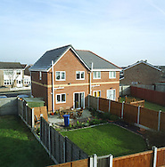 A newly-built suburban home in a suburb of Liverpool on the river Mersey. The Mersey is a river in north west England which stretches for 70 miles (112 km) from Stockport, Greater Manchester, ending at Liverpool Bay, Merseyside. For centuries, it formed part of the ancient county divide between Lancashire and Cheshire.
