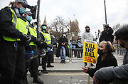 Kill the Bill demonstration in Central London against the proposed Police, Crime, Sentencing and Courts Bill on the 3rd April 2021, London, United Kingdom. After the protest ended in Parliament Square police cleared the streets, arresting several in the process. Thousands turned out in London and across the UK to show their objection to the Governments proposed bill. Many fear the bill is meant to suppress acts of protesting and demonstrations. The police will be given greater powers to prevent and stop actions of civil disobedience and peaceful protests and many see this as a suppression of their civil liberties. Sentencing for acts of peaceful protest is also likely to be much harsher and that may also act as a deterrent to protest.