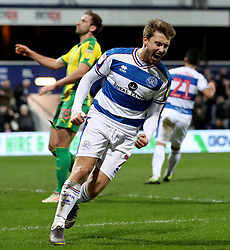 Queens Park Rangers' Luke Freeman celebrates scoring his side's first goal of the game during the Sky Bet Championship match at Loftus Road, London.