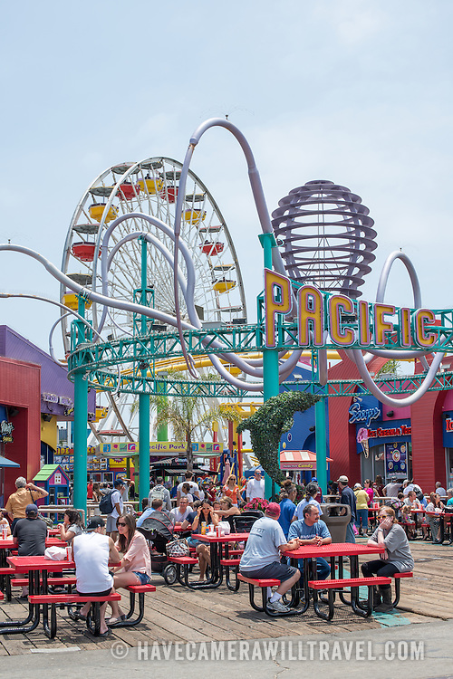 Some of the amusement park rides on Santa Monica Pier in western Los Angeles, California.