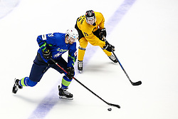 Miha Verlic of Slovenia vs Daniel Bogdziul of Lithuania during ice hockey match between Slovenia and Lithuania at IIHF World Championship DIV. I Group A Kazakhstan 2019, on May 5, 2019 in Barys Arena, Nur-Sultan, Kazakhstan. Photo by Matic Klansek Velej / Sportida