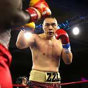 Zhilei Zhang of Zhoukou, China fights Curtis Harper of Jacksonville, Florida during a Nelsons Promotions boxing match at the Boca Raton Resort  and Club on Friday, May 26, 2017 in Boca Raton, Florida.  (Alex Menendez via AP)