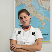 Treviso, Italy, September 20, 2017. Canteen of the Bishop's Seminary of San Nicolò. Mariagiulia Roscigno, a 26-year-old from Civitavecchia, is  a student in the 2nd year of the Professional Training Course 1 of the ISCR in Matera. Mariagiulia says: «Obviously, those who choose to do this profession already have a passion for art. When I was a kid I was going to see exhibitions and museums. After that introduction to the world of art,   I started to focus on details that a visitor usually does not pay attention to - for example,  what is hidden behind the wor Usually we stop at the front, but even what is hidden can give us interesting information about a work of art. On the back of a statue you can see signs of the manufacturing process, or the back of a canvas can give you a lot of information about its state of preservation. We can see if it has been restored, if there are any lining. So in addition to the beauty of the work we are also interested in his state of its 'health'. Over time, our eyes  have learned to look beyond the frame toward the  work as a whole».<br /> 