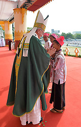 Thousands of Catholic faithful attend an open air mass held by visiting Pope Francis in Yangon, Myamar on November 29, 2017. Pope Francis' visit in Myanmar and Bangladesh runs from 27 November to 02 December 2017. Photo by ABACAPRESS.COM