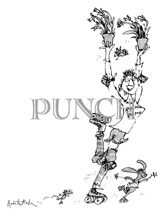 (A woman on roller skates wearing a t-shirt labelled 'Prima Vera' , accompanied by a rabbit and a mouse, skates by holding up two pots of daffodils)