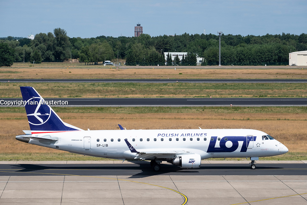 LOT Polish airlines passenger aircraft at Tegel Airport in Berlin, Germany