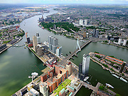 Nederland, Zuid-Holland, Rotterdam, 14-05-2020; Kop van Zuid met Wilhelminakade. Nieuwe Maas, Erasmusbrug en Noordereiland (re).<br /> Nieuwe Maas richting havens.<br /> Kop van Zuid with Wilhelminakade. Nieuwe Maas, Erasmus Bridge and Noordereiland (right). Nieuwe Maas direction of the Port of Rotterdam.<br /> <br /> luchtfoto (toeslag op standard tarieven);<br /> aerial photo (additional fee required)<br /> copyright © 2020 foto/photo Siebe Swart
