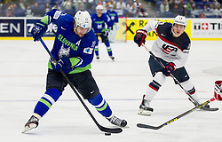 Anze Kopitar of Slovenia vs Jimmy Vesey of USA during Ice Hockey match between Slovenia and USA at Day 10 in Group B of 2015 IIHF World Championship, on May 10, 2015 in CEZ Arena, Ostrava, Czech Republic. Photo by Vid Ponikvar / Sportida