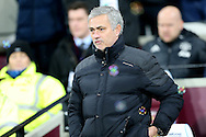 Jose Mourinho, the Manchester United manager looking on from the dugout .Premier league match, West Ham Utd v Manchester Utd at the London Stadium, Queen Elizabeth Olympic Park in London on Monday 2nd January 2017.<br /> pic by John Patrick Fletcher, Andrew Orchard sports photography.