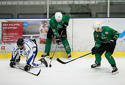 Anej Kujavec of SZ Olimpija and Aljaz Chvatal of SZ Olimpija during ice hockey match between HK SZ Olimpija and WSV Sterzing Broncos Weihenstephan (ITA) in Round #12 of AHL - Alps Hockey League 2018/19, on October 30, 2018, in Hala Tivoli, Ljubljana, Slovenia. Photo by Vid Ponikvar / Sportida
