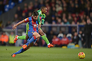 a mistake by Scott Dann of Crystal Palace (l) as he pokes the ball back past his keeper for Jermain Defoe of Sunderland (r) to pounce and score his sides 1st goal to make it 0-1. Barclays Premier league match, Crystal Palace v Sunderland at Selhurst Park in London on Monday 23rd November 2015.<br /> pic by John Patrick Fletcher, Andrew Orchard sports photography.