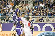 MLS Game, Orlando City v San Jose Earthquake, Orlando City dedicate match to Pulse nightclub Shootings In Orlando.  <br /> 06-18-16.<br /> Orlando's Seb Hines scores from a header.  putting Orlando 1-0 up . <br /> Orlando, Florida, USA.<br /> Picture  Mark Davison for DailyMail.com<br /> Saturday 18th June 2016.