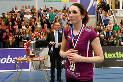 20150425 NED: Eredivisie VC Sneek - Eurosped, Sneek<br />Jeanine Stoeten (9) of Eurosped<br />©2015-FotoHoogendoorn.nl / Pim Waslander