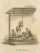 Production of ceramics using a kick wheel  -  China. Engraving, 1812.