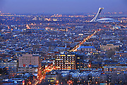 Dusk on Mont-Royal Avenue and Olympic Stadium, Montreal, Quebec, Canada