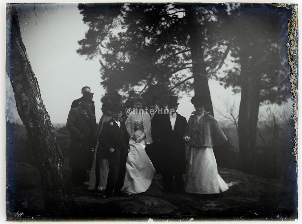 elegant dressed group in wood setting on a deteriorating glass plate