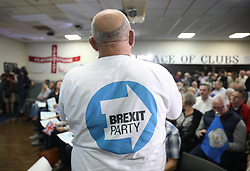 Brexit Party supporters during a rally at Featherstone Working Man's Club, while on the European Election in Pontefract, West Yorkshire. Picture dated: Monday May 13, 2019. Photo credit should read: Isabel Infantes / EMPICS Entertainment.